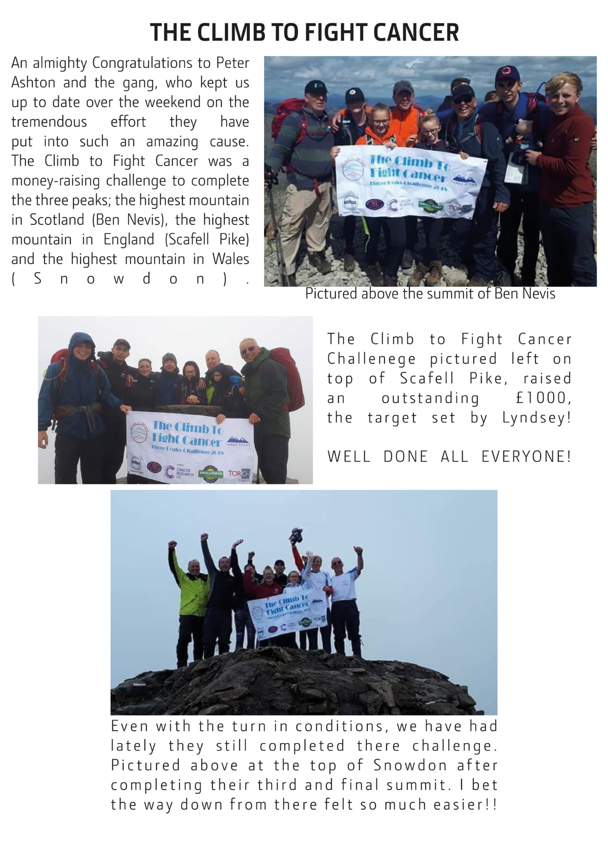 The climb to fight cancer